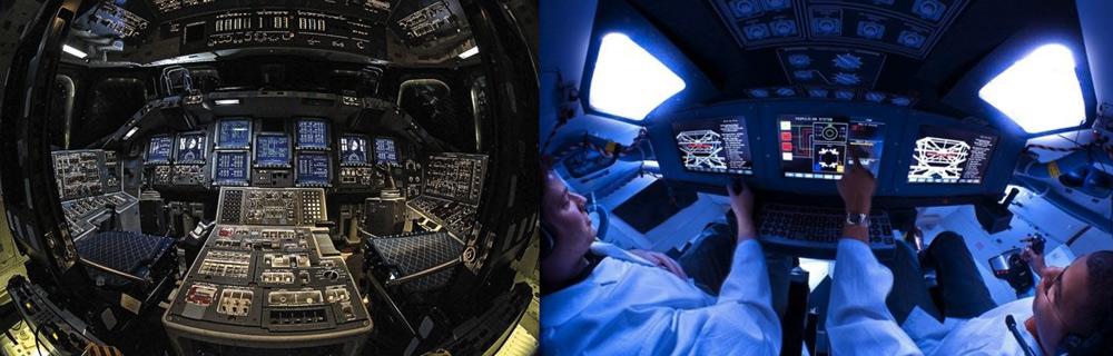 À gauche, le tableau de bord de la navette Endeavour, avec 9 écrans LCD et des centaines de boutons. À droite, la prochaine capsule spatiale ORION dispose d'une interface simplifiée autour de 3 écrans.